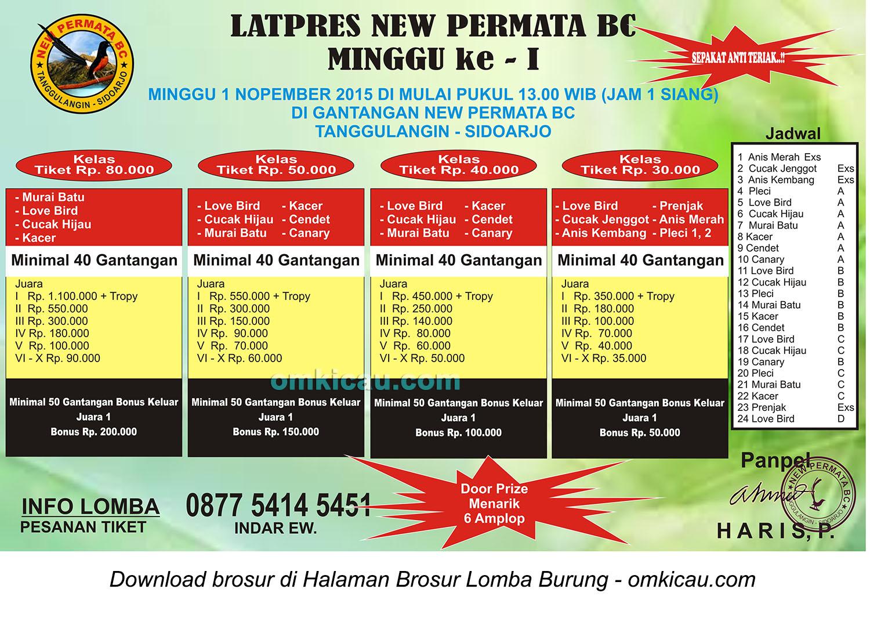 Brosur Latpres Burung Berkicau New Permata BC, Sidoarjo, 1 November 2015