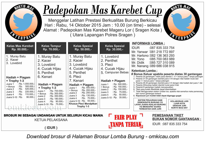 Brosur Latpres Burung Berkicau Padepokan Mas Karebet Cup, Sragen, 14 Oktober 2015