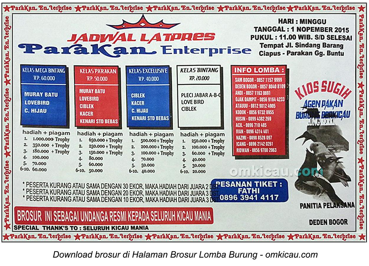 Brosur Latpres Burung Berkicau Parakan Enterprise, Bogor, 1 November 2015