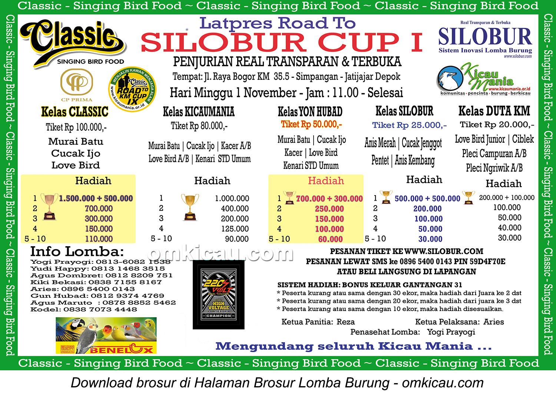 Brosur Latpres Burung Berkicau Road to Silobur Cup I, Depok, 1 November 2015