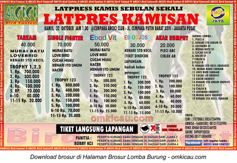 Brosur Latpres Kamisan Arcici Bird Contest, Jakarta Pusat, 22 Oktober 2015