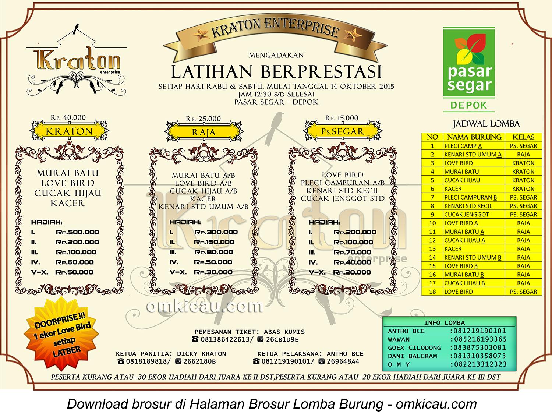 Brosur Latpres Kraton Enterprise Depok, setiap Rabu dan Sabtu jam12-30