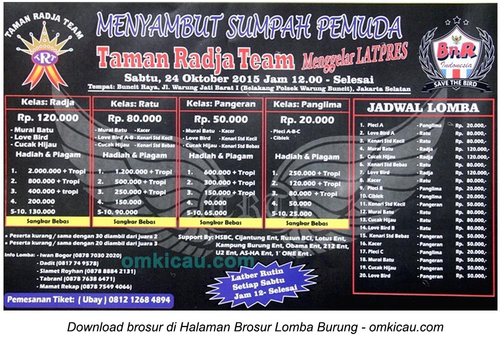 Brosur Latpres Taman Radja Team Menyambut Sumpah Pemuda, Jakarta Selatan, 24 Oktober 2015