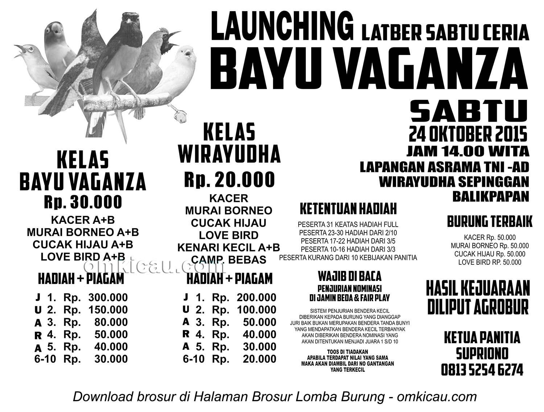Brosur Launching Latber Sabtu Ceria Bayu Vaganza, Balikpapan, 24 Oktober 2015