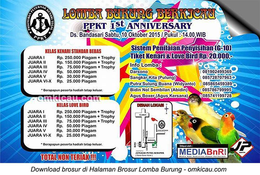 Brosur Lomba Burung Berkicau 1st Anniversary PPKT, Kab Tegal, 10 Oktober 2015