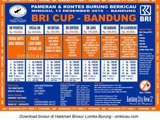 Brosur Lomba Burung Berkicau BRI Cup, Bandung, 13 Desember 2015
