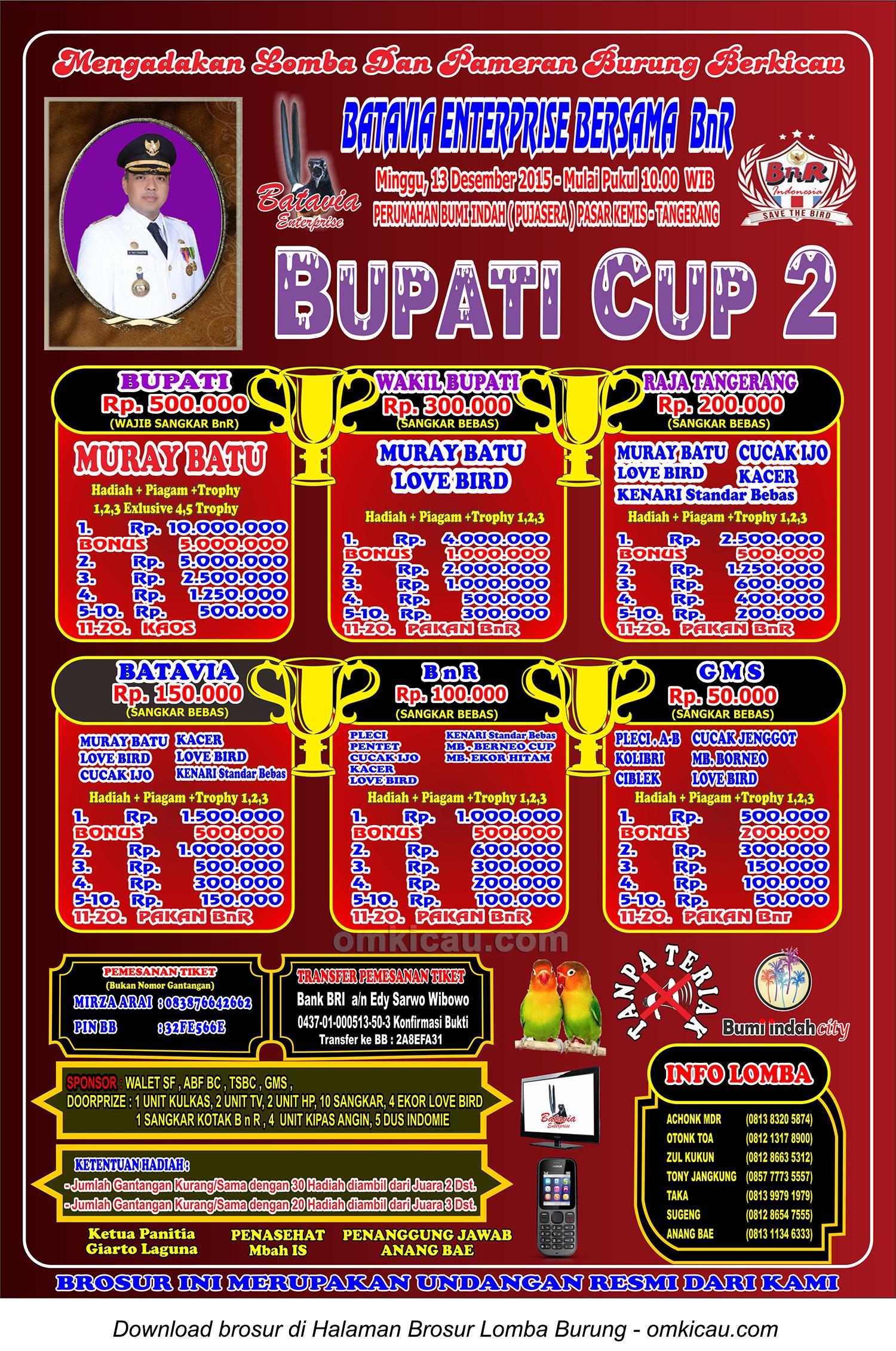 Brosur Lomba Burung Berkicau Bupati Cup 2, Tangerang, 13 Desember 2015