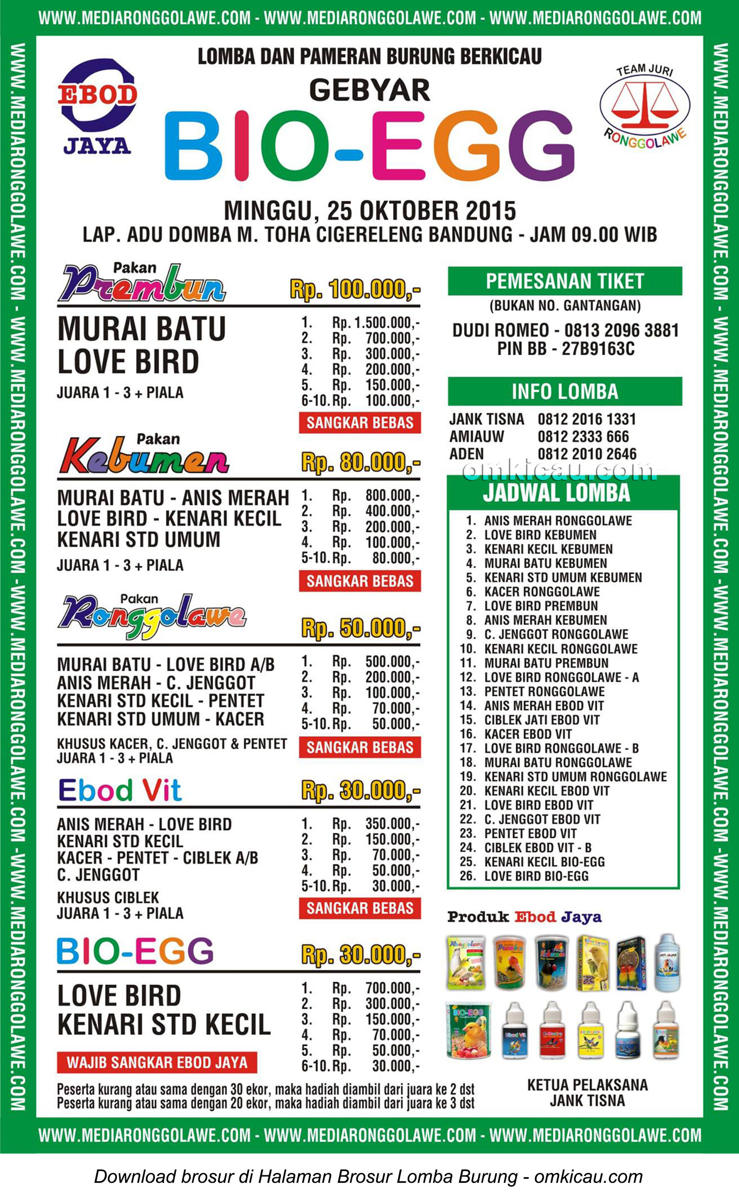Brosur Lomba Burung Berkicau Gebyar Bio-Egg, Bandung, 25 Oktober 2015