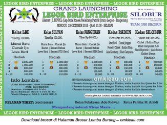 Brosur Lomba Burung Berkicau Grand Launching LBE, Tangerang, 25 Oktober 2015