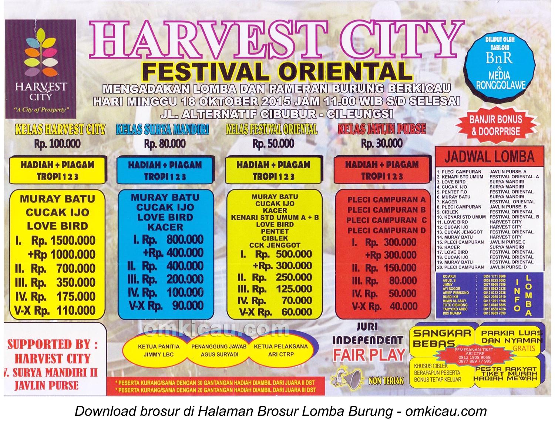 Brosur Lomba Burung Berkicau Harvest City Festival Oriental, Bogor, 18 Oktober 2015