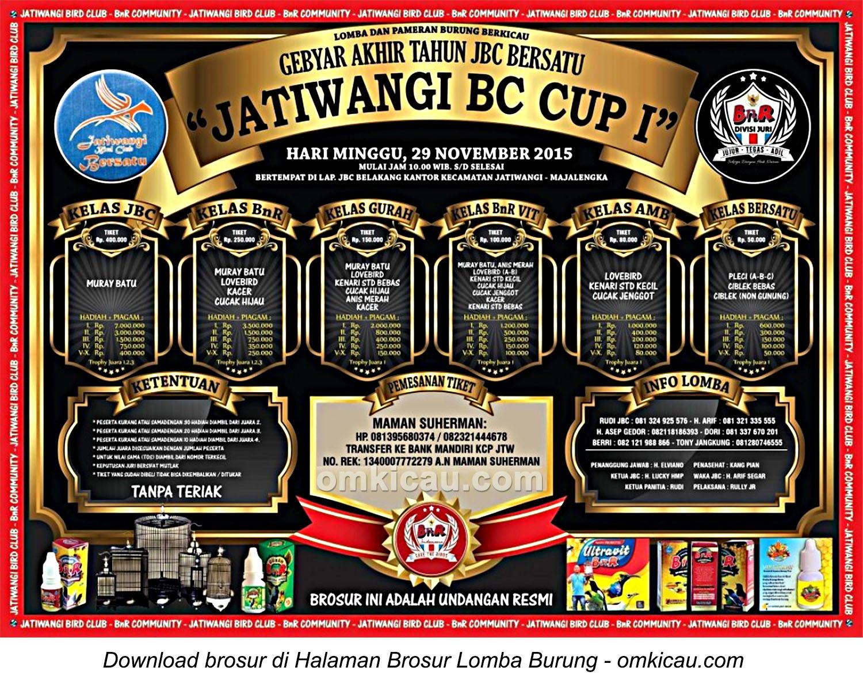 Brosur Lomba Burung Berkicau Jatiwangi BC Cup I, Majalengka, 29 November 2015