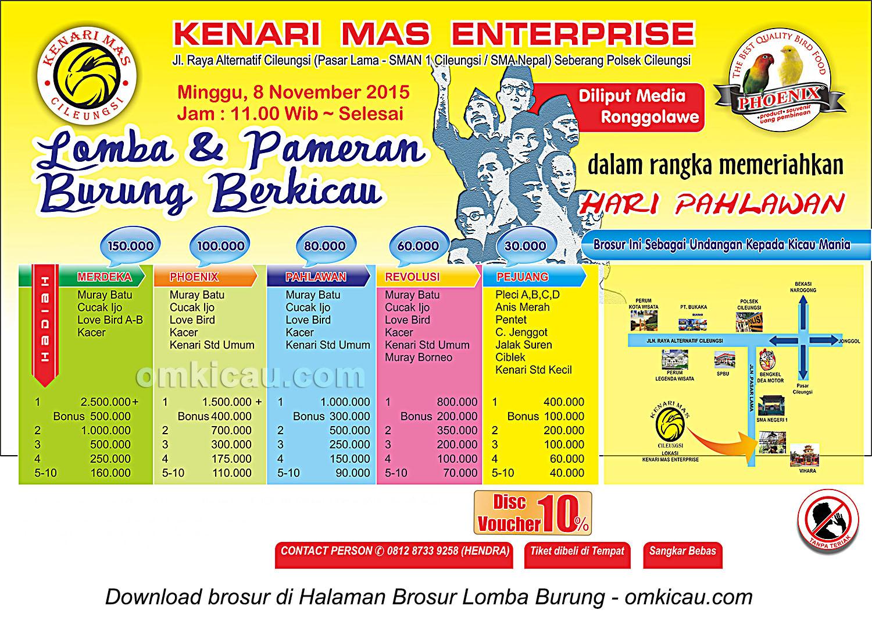 Brosur Lomba Burung Berkicau Kenari Mas Enterprise, Bogor, 8 November 2015