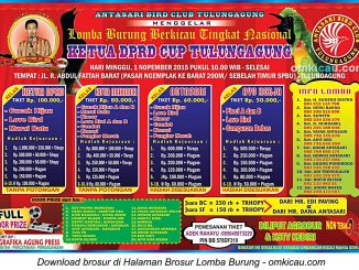 Brosur Lomba Burung Berkicau Ketua DPRD Cup Tulungagung, Minggu 1 November 2015