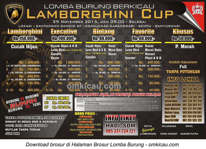 Brosur Lomba Burung Berkicau Lamborghini Cup, Banyuwangi, 29 November 2015