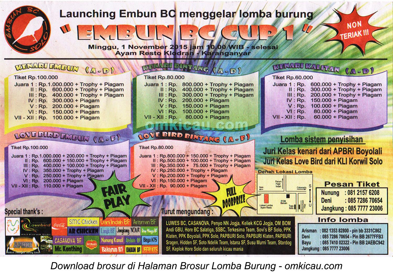 Brosur Lomba Burung Berkicau Launching Embun BC, Karanganyar, Minggu 1 November 2015