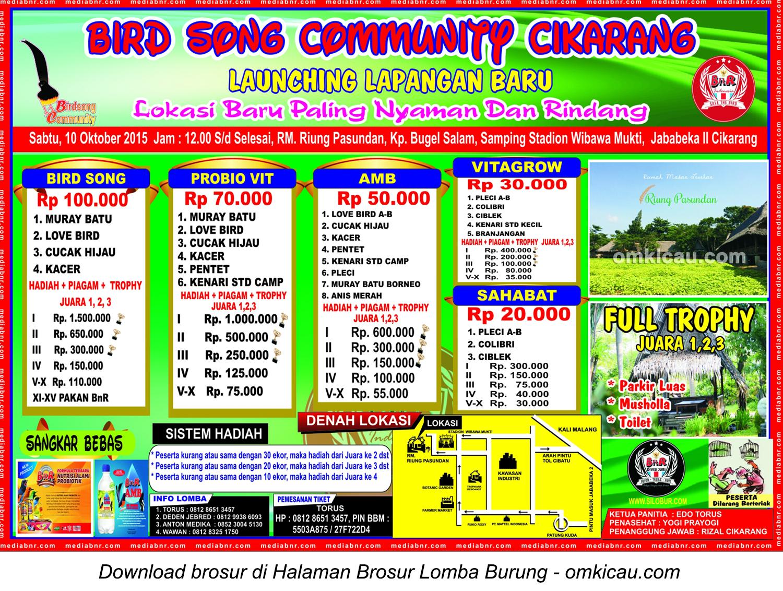 Brosur Lomba Burung Berkicau Launching Lapangan Baru BSC, Cikarang, Sabtu 10 Oktober 2015