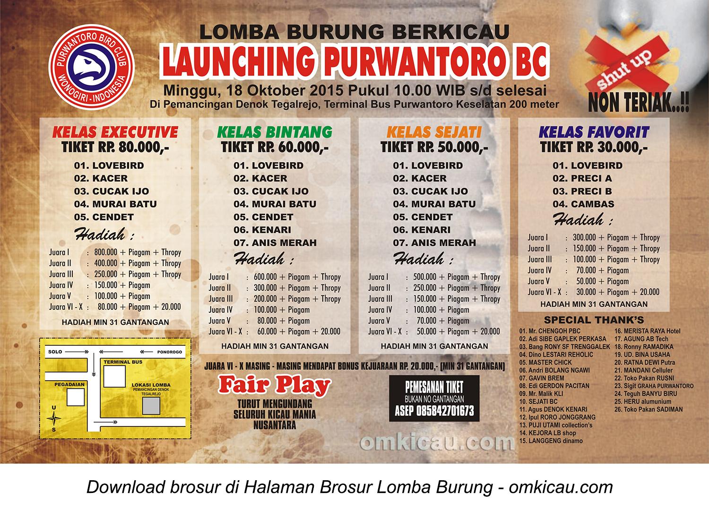 Brosur Lomba Burung Berkicau Launching Purwantoro BC, Wonogiri, 18 Oktober 2015