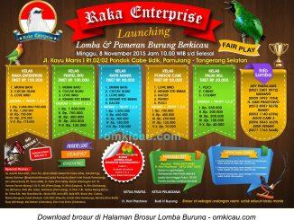 Brosur Lomba Burung Berkicau Launching Raka Enterprise, Tangerang Selatan, 8 November 2015