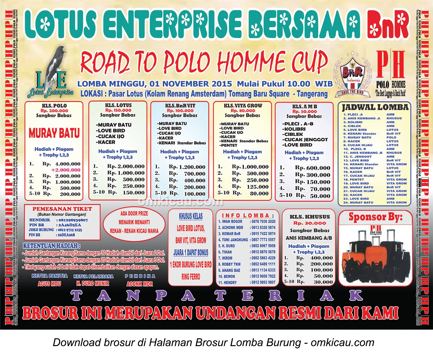 Brosur Lomba Burung Berkicau Lotus Enterprise-Road to Polo Home Cup, Tangerang, 1 November 2015