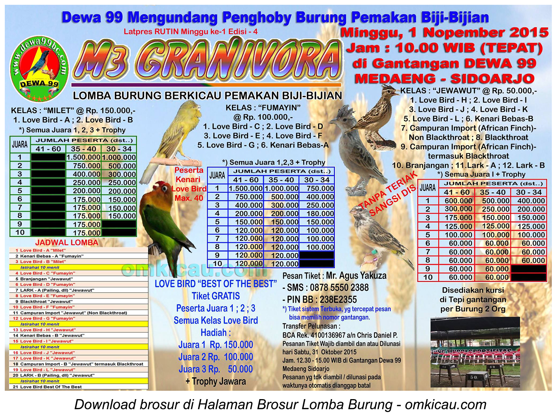 Brosur Lomba Burung Berkicau M3 Granivora Dewa 99, Sidoarjo, 1 November 2015