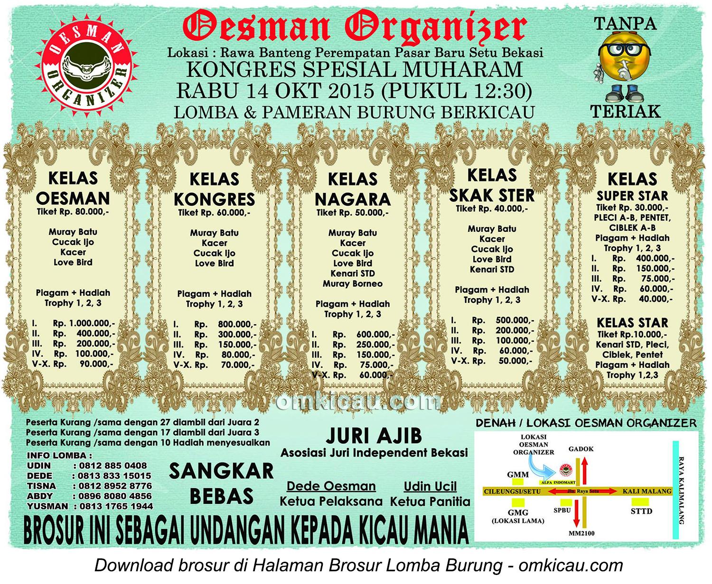 Brosur Lomba Burung Berkicau Oesman Organizer Spesial Muharam, Bekasi, 14 Oktober 2015