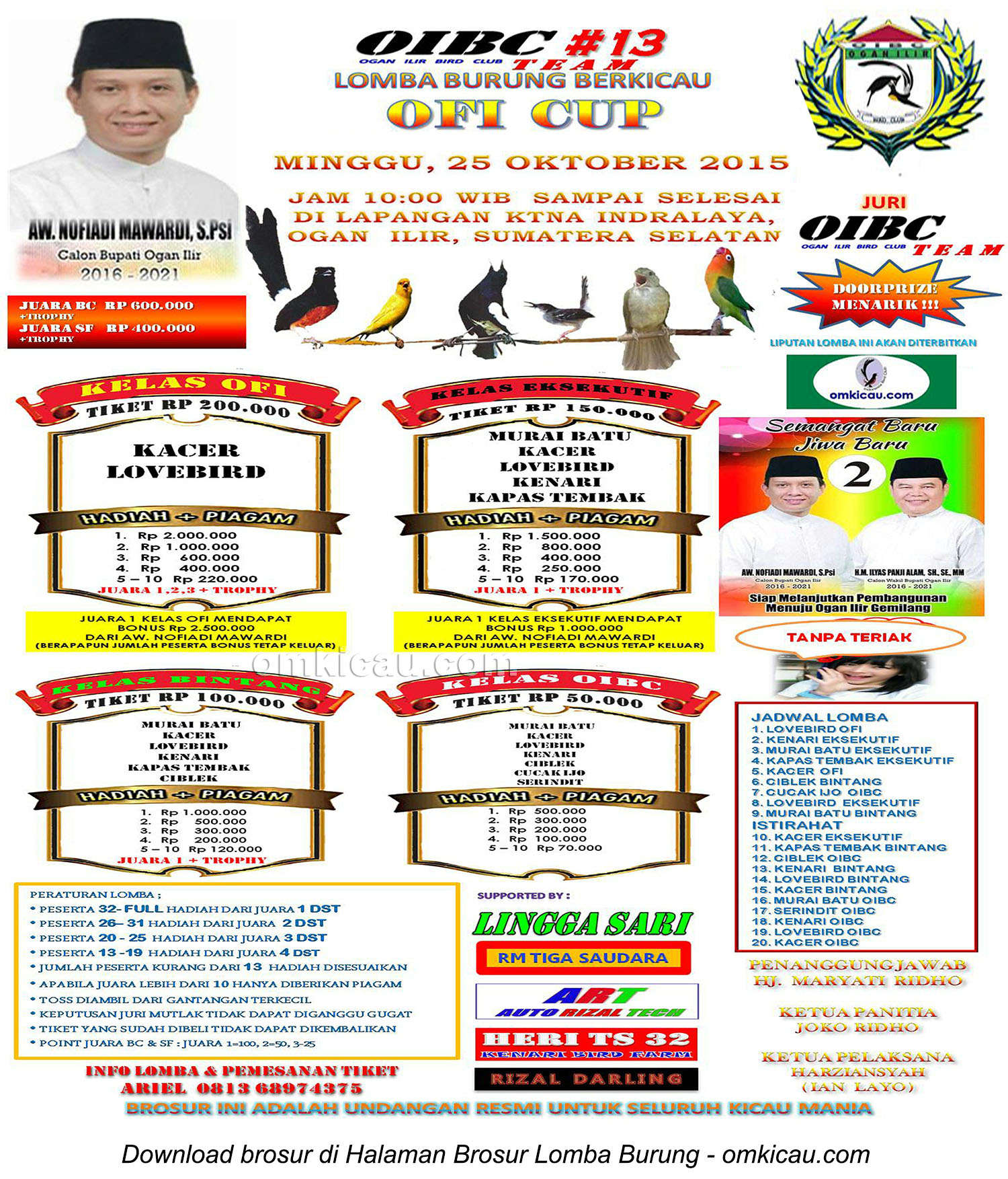 Brosur Lomba Burung Berkicau Ofi Cup - OIBC #13, Ogan Ilir, 25 Oktober 2015