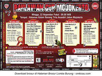 Brosur Lomba Burung Berkicau Pahlawan Cup - BnR Mojokerto, 22 November 2015