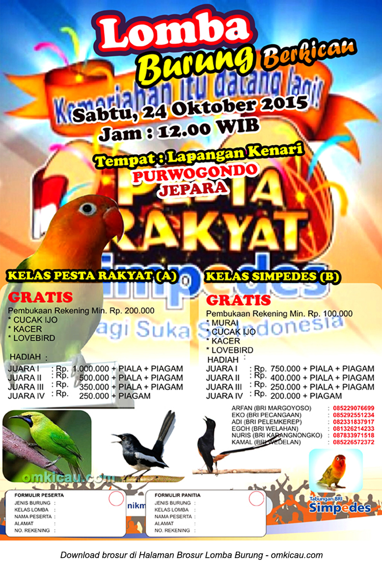 Brosur Lomba Burung Berkicau Pesta Rakyat, Jepara, 24 Oktober 2015