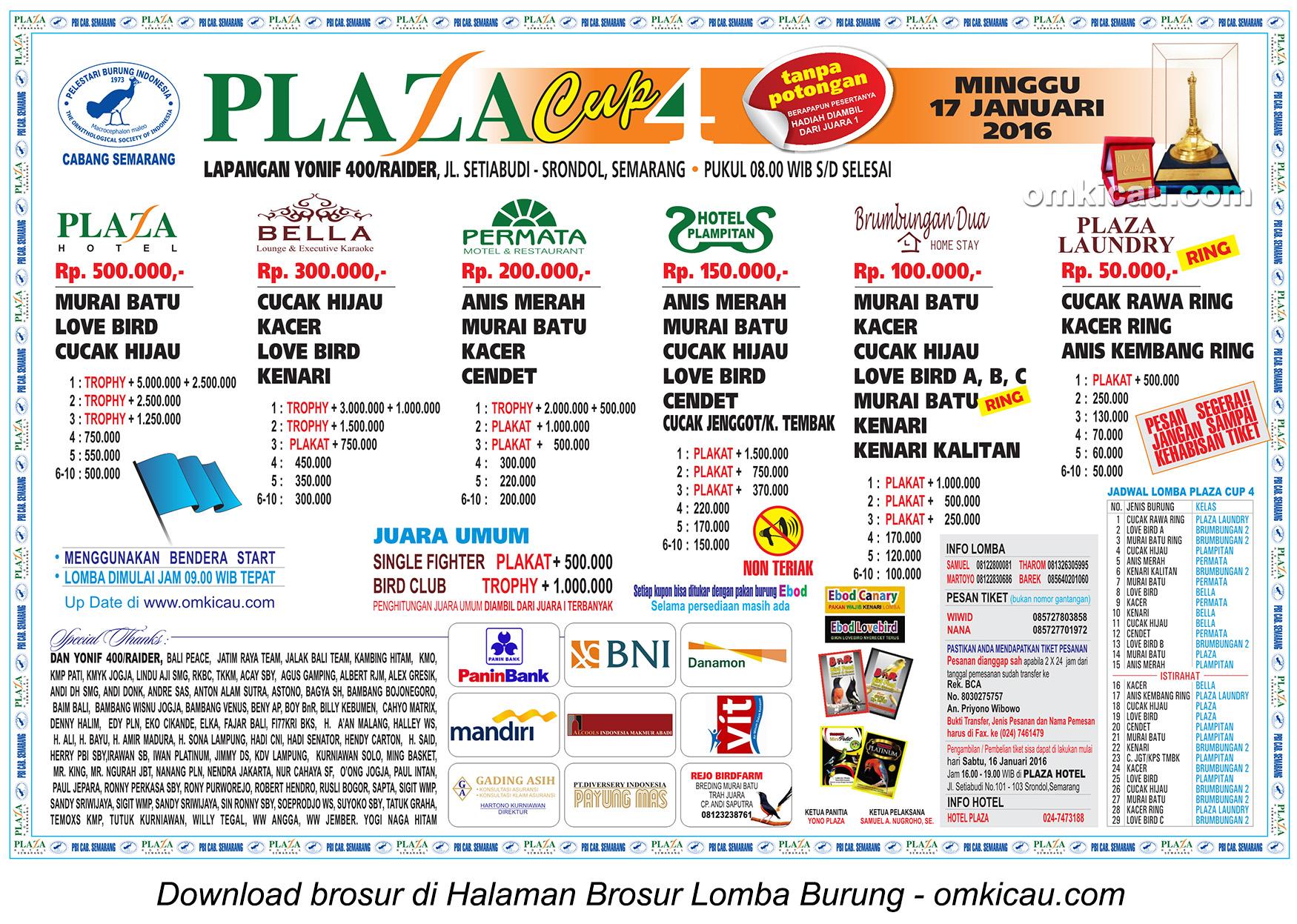 Brosur Lomba Burung Berkicau Plaza Cup 4, Semarang, Minggu 17 Januari 2016