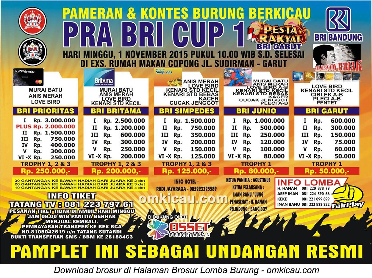 Brosur Lomba Burung Berkicau Pra BRI Cup, Garut, 1 November 2015