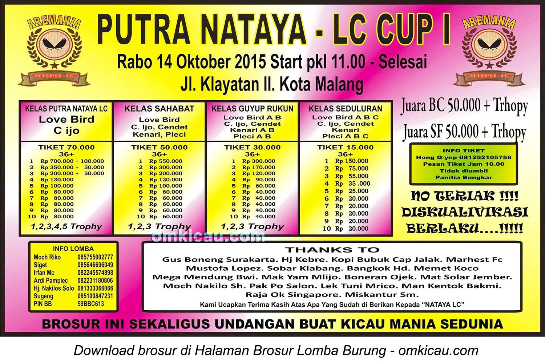 Brosur Lomba Burung Berkicau Putra Nataya-LC Cup I, Malang, 14 Oktober 2015