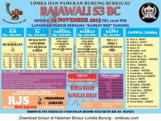 Brosur Lomba Burung Berkicau Rajawali S3 BC, Tangerang Selatan, Minggu 15 November 2015