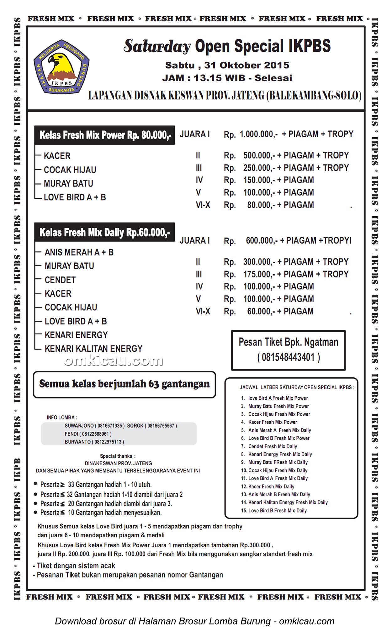 Brosur Lomba Burung Berkicau Saturday Open Special IKPBS, Solo, 31 Oktober 2015