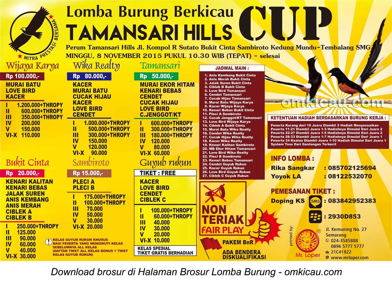 Brosur Lomba Burung Berkicau Tamansari Hills Cup, Semarang, 8 November 2015