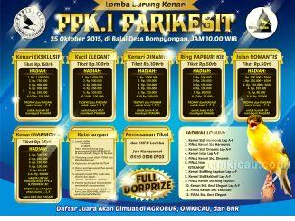 Brosur Lomba Burung Kenari PPK-1 Parikesit, Klaten, 25 Oktober 2015