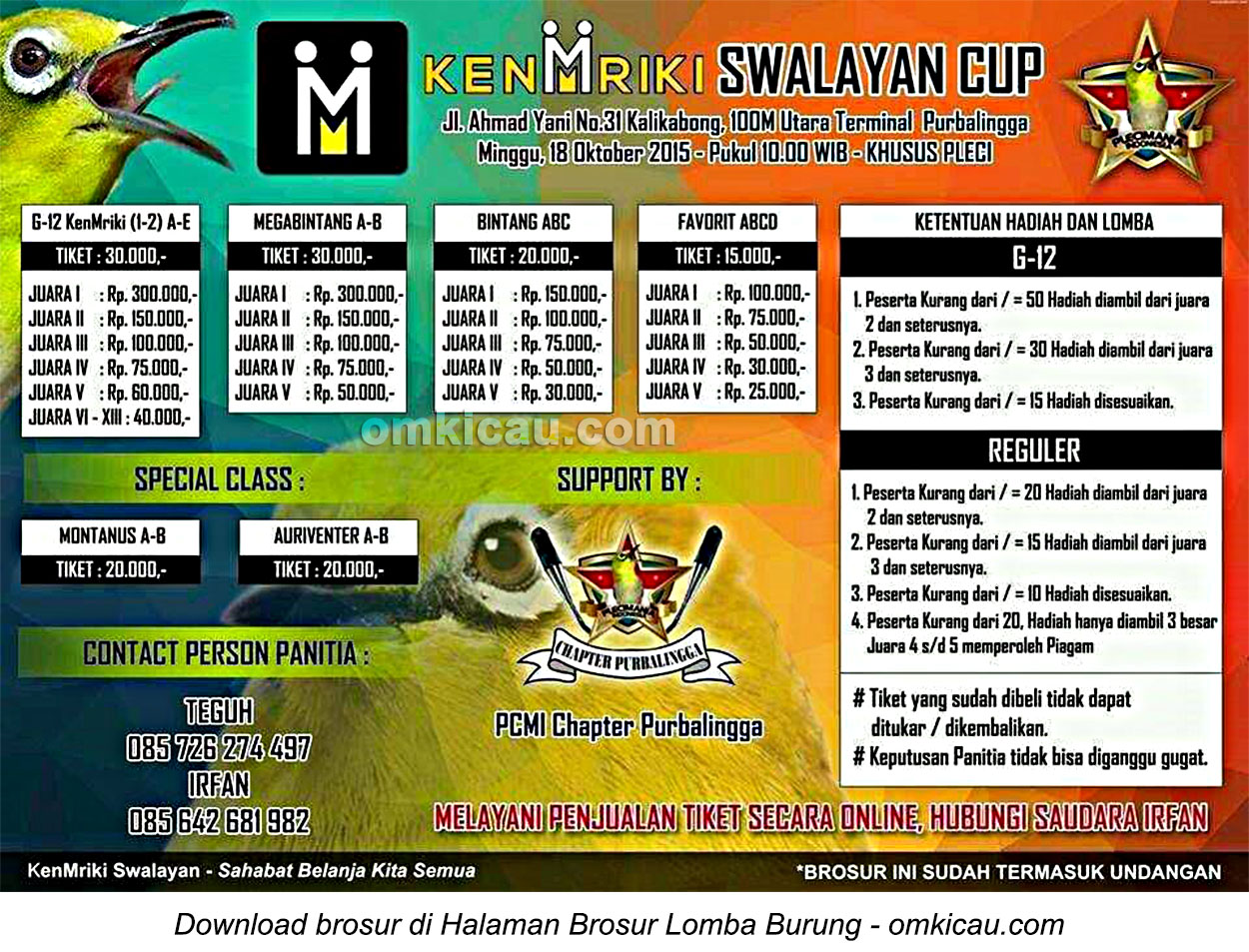 Brosur Lomba Burung Khusus Pleci KenMriki Swalayan Cup, Purbalingga, 18 Oktober 2015