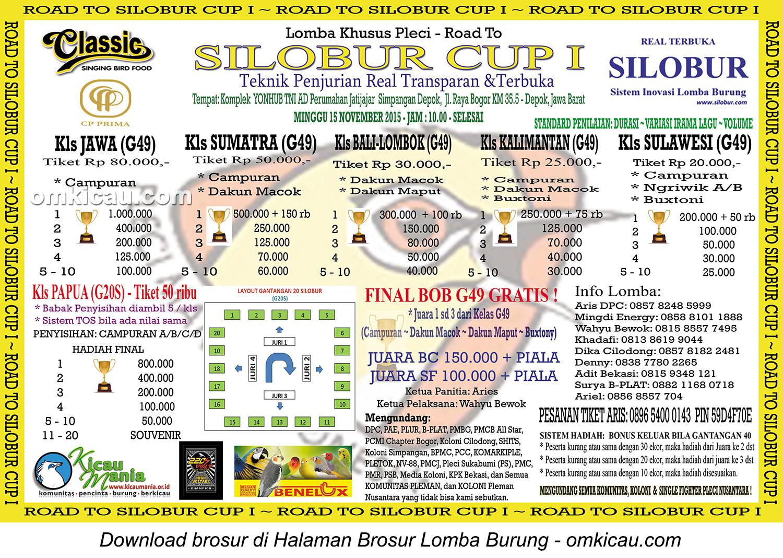 Brosur Lomba Khusus Pleci - Road to Silobur Cup I, Depok, 15 November 2015
