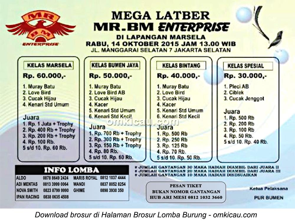 Brosur Mega Latber MR-BM Enterprise, Jakarta Selatan, 14 Oktober 2015