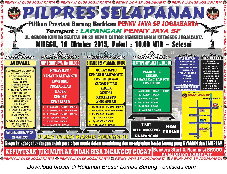 Brosur Pilpres Selapanan Penny Jaya SF, Jogja, 18 Oktober 2015