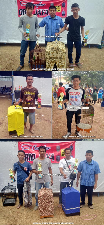Para juara kelas cucak ijo Oriq Jaya Cup