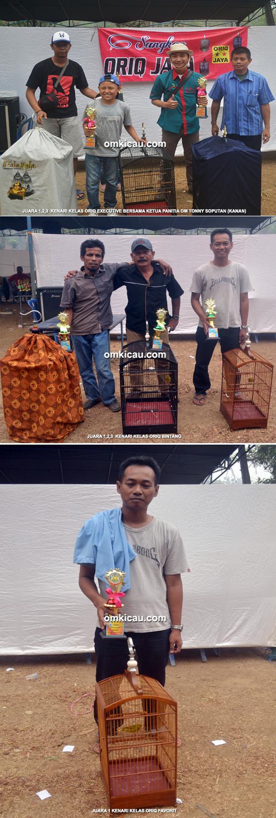 Para juara kelas kenari Oriq Jaya Cup