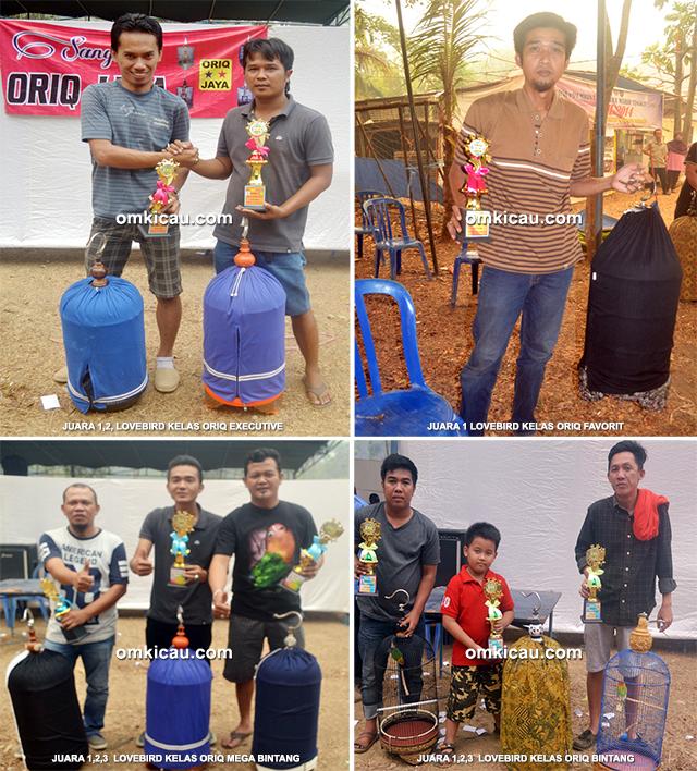 Para juara lovebird Oriq Jaya Cup