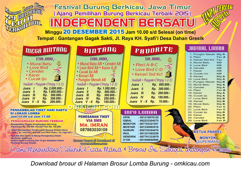Brosur Festival Burung Berkicau Independent Bersatu, Gresik, 20 Desember 2015