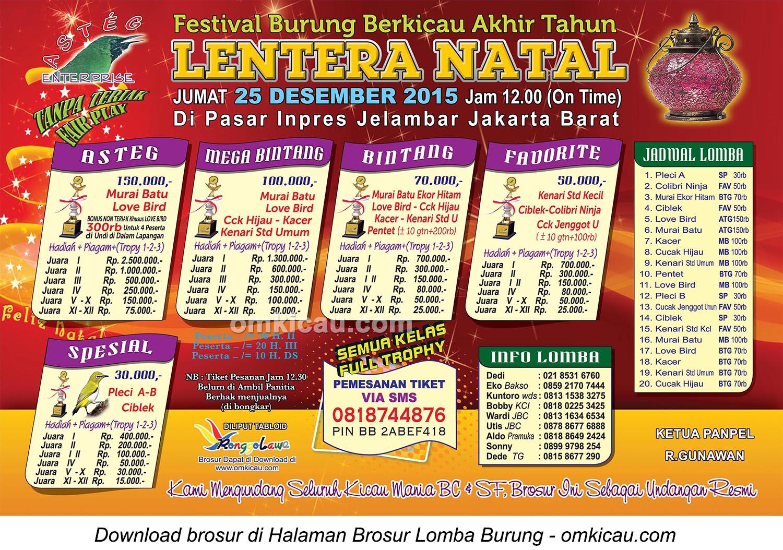 Brosur Festival Burung Berkicau Lentera Natal, Jakarta Barat, 25 Desember 2015