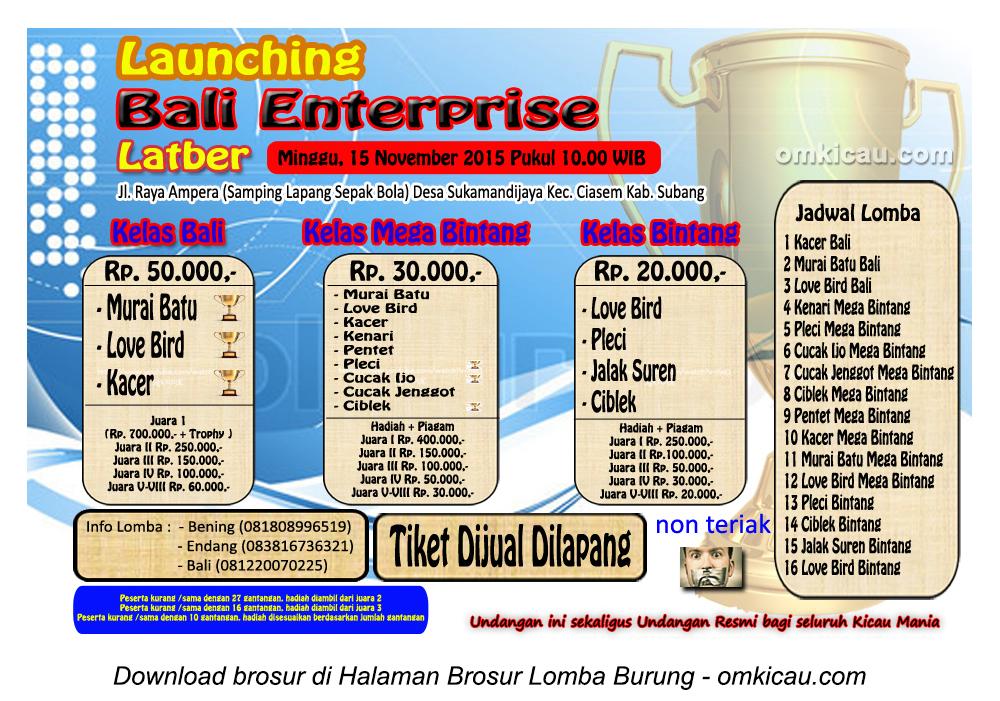 Brosur Latber Burung Berkicau Launching Bali Enteprise, Subang, 15 November 2015