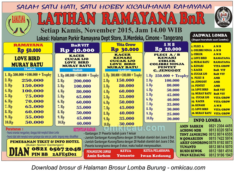 Brosur Latber Burung Berkicau Ramayana BnR, Tangerang, 19 November 2015