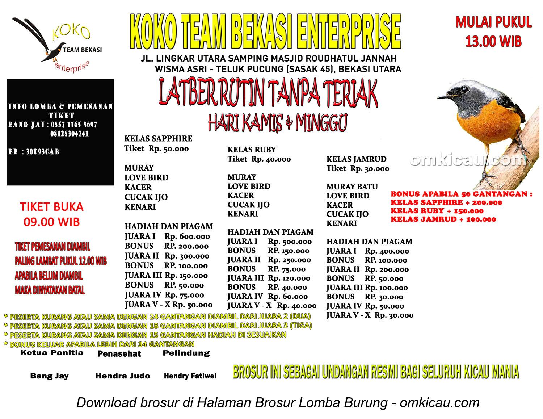 Brosur Latber Koko Team Bekasi Enterprise, setiap Kamis dan Minggu mulai jam 1 siang