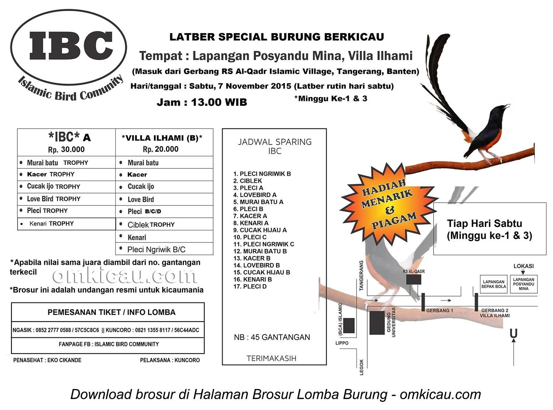 Brosur Latber Special Burung Berkicau IBC, Tangerang, 7 November 2015