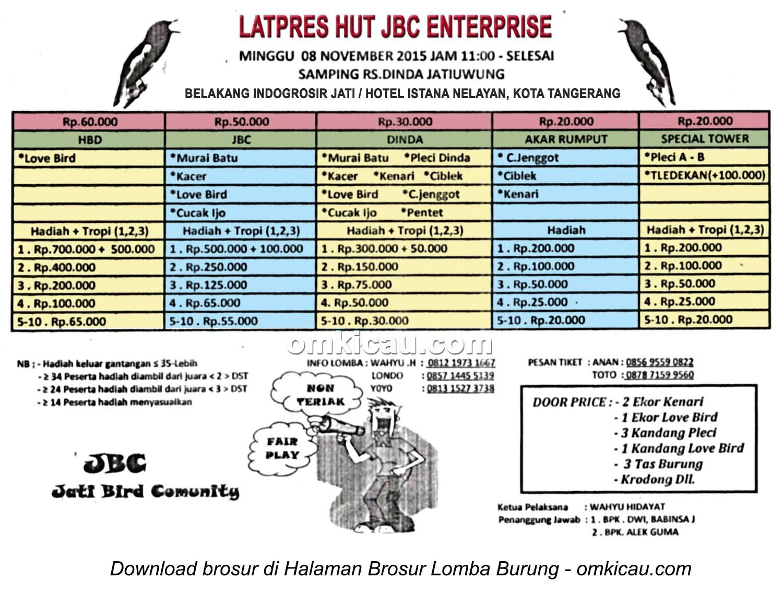 Brosur Latpres Burung Berkicau HUT JBC Enterprise, Kota Tangerang, 8 November 2015