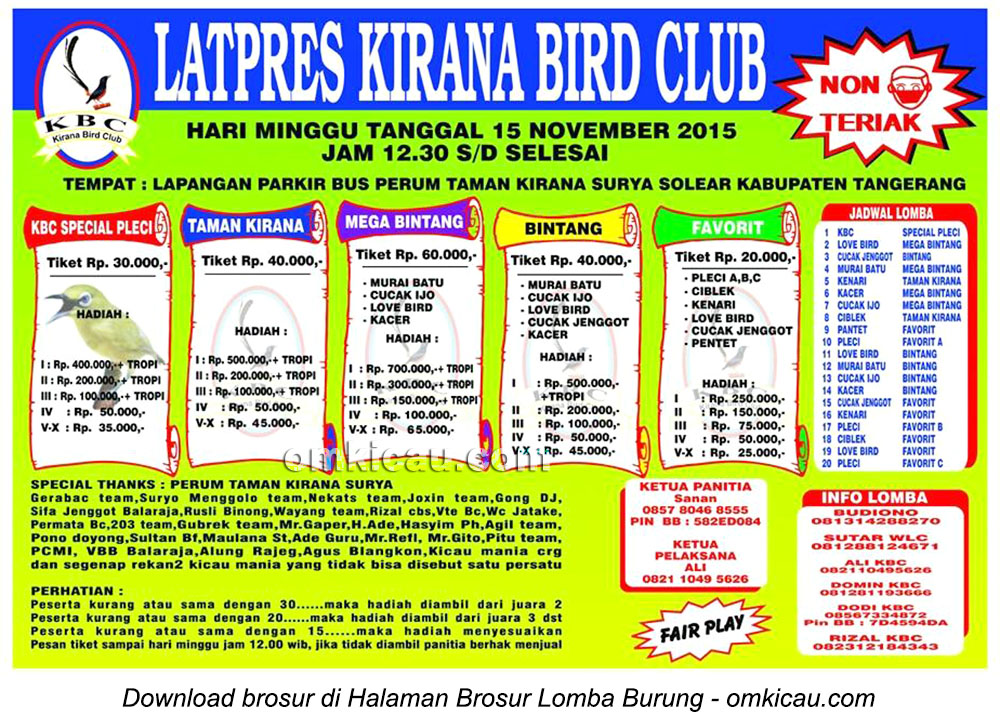 Brosur Latpres Burung Berkicau Kirana Bird Club, Tangerang, 15 November 2015